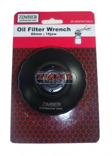 Cheie pentru filtru de ulei 86 mm x 18 laturi. -ZR-36OFWCT8618 - ZIMBER TOOLS.