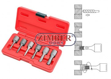 "Set extractor, 6-buc. 3/8""-  2,3,4,6,8,10-mm  ZR-36SS3806 - ZIMBER-TOOLS."