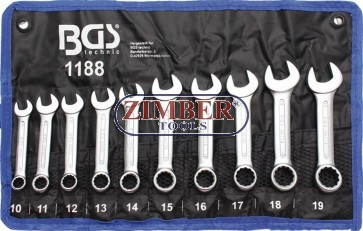 Set chei combinate extra scurte 10 - 11 - 12 - 13 - 14 - 15 - 16 - 17 - 18 - 19 mm, 10 piese - ZB-1188 -BGS technic. Germany.