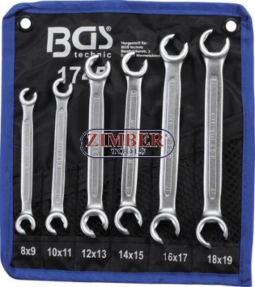 Set chei inelare pentru conducte: 8 x 9mm, 10 x 11mm, 12 x 13mm, 14 x 15mm, 16 x 17mm, 18 x 19mm, 6 piese | 1745 - BGS technic.