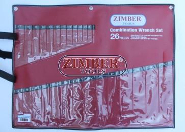 Husa pentru chei fixe, combinate 26 bucati -ZR-30PBCW26- ZIMBER TOOLS