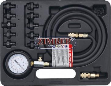 Tester presiune ulei cu set de adaptoare 0 - 10 bar, 12 piese  - 98007 - BGS technic.
