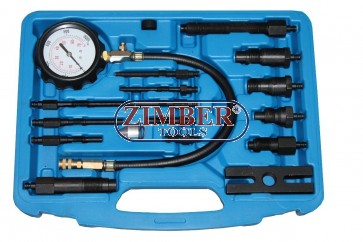 Tester compresie diesel 0 - 70 bar 16.bucati,  ZT-04102 - SMANN TOOLS