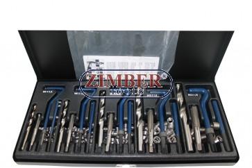 Trusă de reparat filet  M5,M6,M8,M10,M12 - 131 bucati, ZR-36TRWK01 - ZIMBER TOOLS
