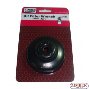 Cheie pentru filtru de ulei 76 mm x 12 laturi Citroen, Fiat, Ford, Peugeot, Renault, Honda, VAG, Mercedes-190 series, Volvo, ZR-36OFWCT7612 - ZIMBER TOOLS