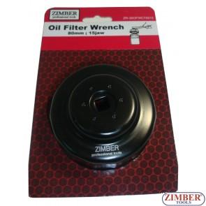 Cheie pentru filtru de ulei 1/2 -80 mm x 15 laturi. Honda, Mazda, Nissan, Opel -ZR-36OFWCT8015 - ZIMBER TOOLS
