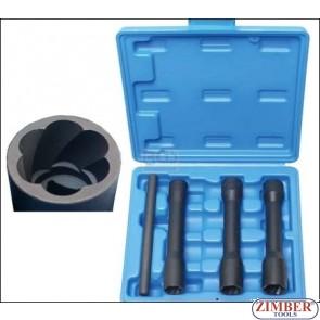 Set tubulare speciale pentru suruburi deteriorate,tip adanci, actionare 1/2 | 17-mm - 19 - 21 mm | 4 piese - 5264 - BGS- technic.