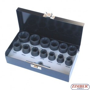 Tubulare Extractore set 14-buc 1/2 10-mm, 11-mm, 12-mm, 13-mm, 14-mm, 16-mm, 17-mm,18-mm, 19-mm, 21-mm, 22-mm, 24-mm, 27-mm - ZIMBER-TOOLS.