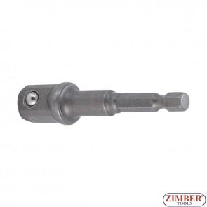 """Adaptor pentru tubulare 12,5 mm (1/2"""") pentru autofiletante, maşini de găurit, antrenare hexagon exterior 6,3 mm (1/4"""") - 9685-3- BGS technic"""