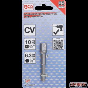 """Adaptor pentru tubulare 10 mm (3/8"""") pentru autofiletante, maşini de găurit, antrenare hexagon exterior 6,3 mm (1/4"""") - 9685-1- BGS technic."""