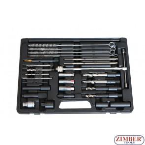 Exractor pentru bujii incandescente rupte 8mm, 9mm, 10mm -27 buc - ZR-36GPTS27 - ZIMBER TOOLS.