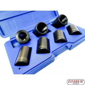 """Extractoare Suruburi Antifurt sau Rotunjit 1/2""""- 17mm, 18.5mm, 20mm, 21.5mm, 23mm, 24.5mm. 26mm. 7-buc- ZT-01Z5188 - SMANN TOOLS."""