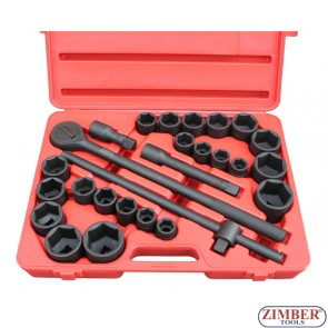 """Trusa Scule IMPACT 3/4"""" 27- piese,  Combinate  Metrice, Inch - ZR-06AISS3427V -ZIMBER-TOOLS."""