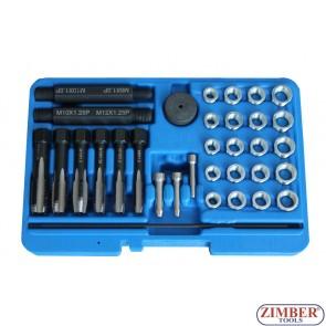 Kit de reparatie filete pentru bujii incandescente, 33 piese 8mm, 10mm, 12mm ,14 mm- ZR-36GPTRS33 - ZIMBER TOOLS.