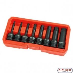 "Set biţi de impact Imbus 5 - 19 mm, lungime 75mm, antrenare cu tubulara 12,5 mm (1/2""), 8 piese - 3032- NEILSEN."
