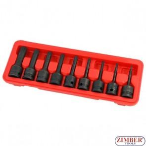 "Set biti Spline (XZN) M4-5-6-8-9-10-12-14-M-16, lungime 75mm, antrenare 1/2"" 9 piese- 3531- NEILSEN."