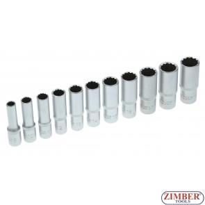 "Set chei tubulare 12 colţuri, adânci | 10 mm (3/8"") | 8 - 19 mm | 11 piese -5252 - BGS - technic."