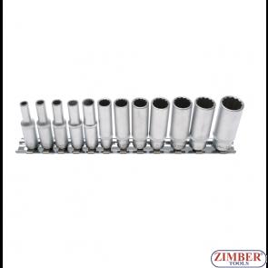"""Set chei tubulare adânci in 12 colțuri mărimi în ţoli 5/32""""- 9/16"""", antrenare 6,3 mm (1/4""""), 12 piese. 2757- BGS- technic."""