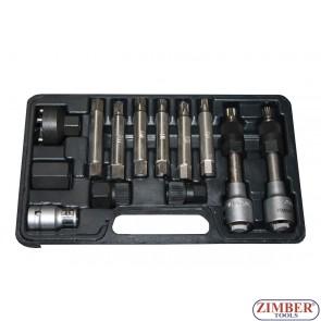 Trusă montare alternator  VW, AUDI, SEAT, MERCEDES, RENAULT, BMW, FORD, FIAT - 13.buc, ZR-36VBBS12 - ZIMBER TOOLS