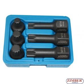 """Trusa Chei TORX """"SPLINE"""" XZN 1/2"""" M14 - M16 - M18 40.mm si 75.mm / 6.buc - ZR-06ISS12H2406 - ZIMBER TOOLS."""