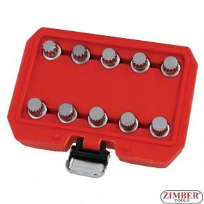 Trusa cu chei speciale pentru suruburi antifurt VAG (10 buc.) 3986 - Neilsen.